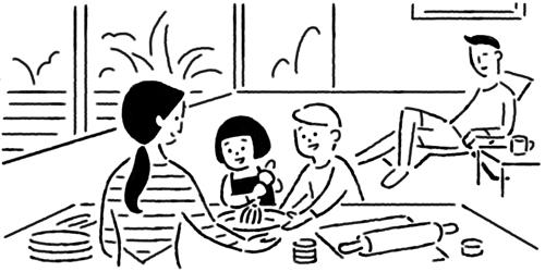 リノベーション後の素敵な家族の絵